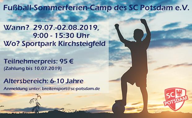 Fußball-Feriencamp 2019 – 29.Juli bis 2. August!