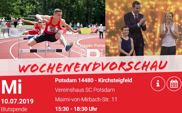 WochenENDvorschau: Leichtathletik, Turnen, Blutspende im Vereinsheim